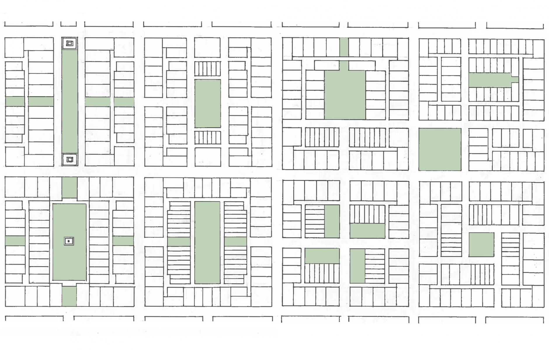 Multiple variations of the Bastrop Block that combine to create a grid of streets. Source: Simplecity Design.