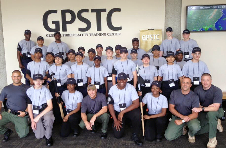 Members of the Leesburg Police Explorers program at the Georgia Public Safety Training Center.