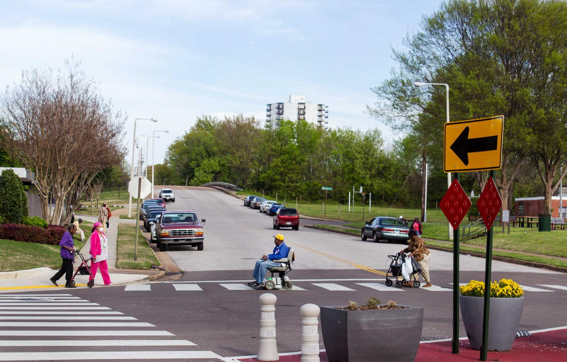 A recent photo of pedestrians at an improved intersection in the Memphis Medical District.